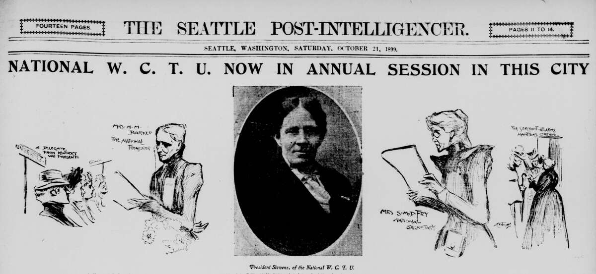Suffragists rallied in Seattle in 1899.  Washington's women lost the right to vote two years before after a backroom deal between saloon owners and the supreme court.