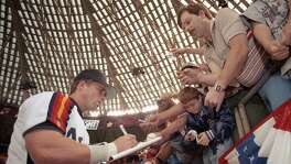 "These fans at the Astrodome were among many who have received an autograph from Jeff Bagwell, who now can add the inscription ""HOF '17"" to his signature."