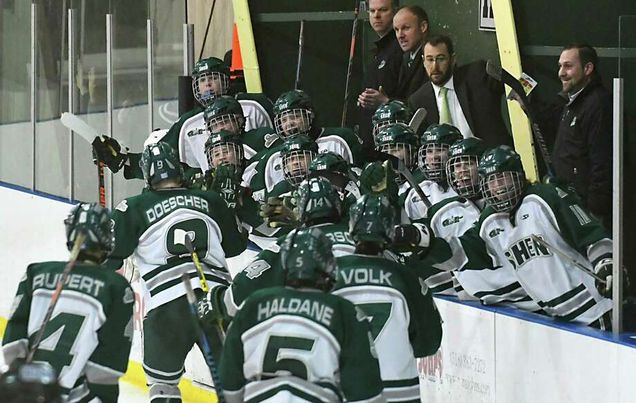 Shenendehowa's bench congratulates the team after Adam Doescher scores in the third period and gives them the lead for the first time in the game against La Salle at Clifton Park Arena on Wednesday, Jan. 18, 2017 in Albany, N.Y. (Lori Van Buren / Times Union) Photo: Lori Van Buren / 0039462A