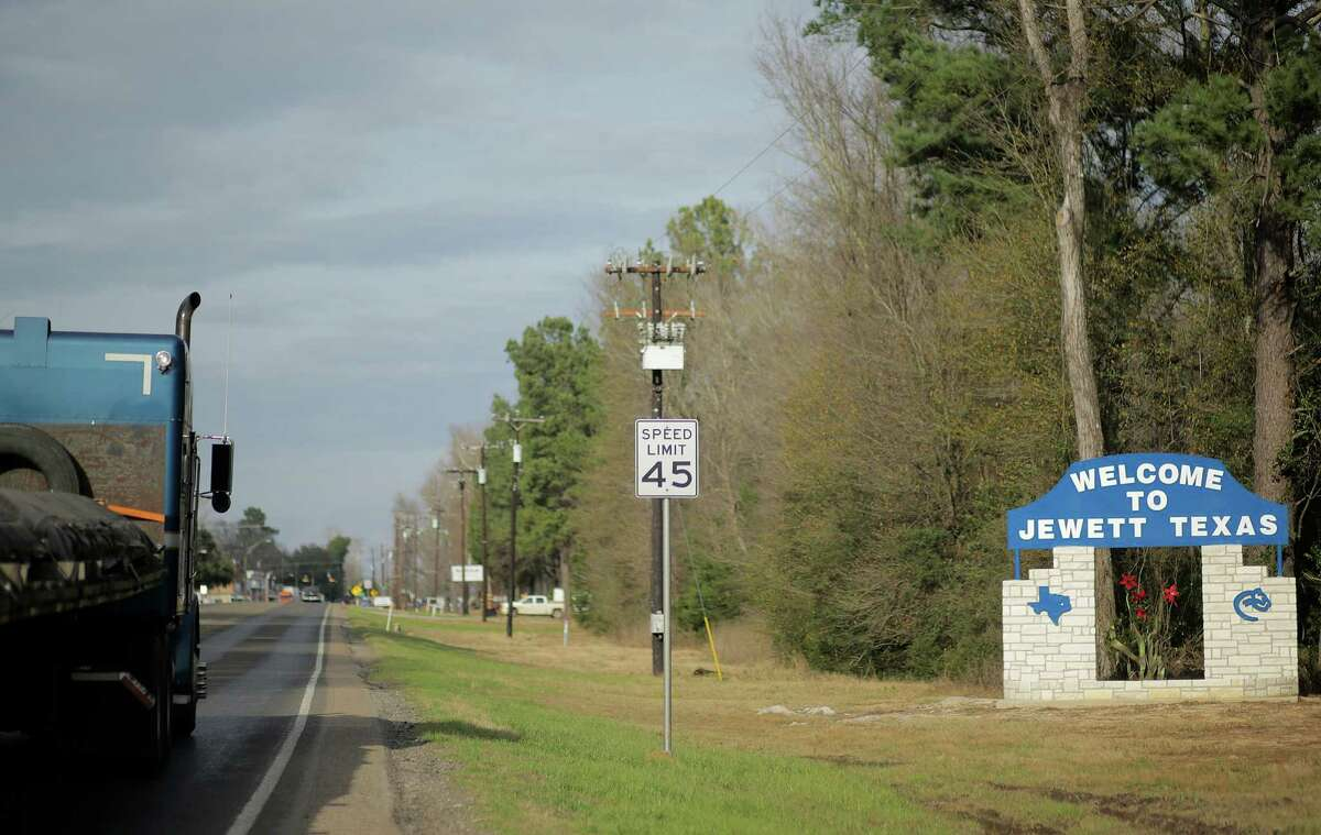 A welcome to Jewett sign on 79, a town with less than 1500 residents. Photos of Jewett, Texas, where the community voted predominantly for Donald Trump. Photographed on Friday, Jan. 13, 2017, in Jewett.