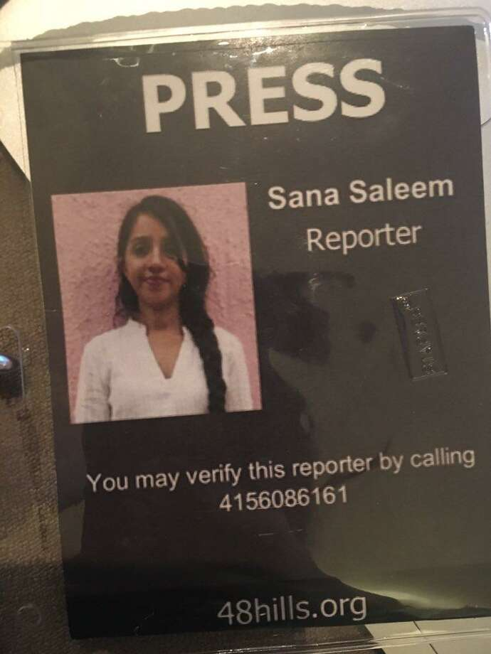 Sana Saleem's press pass issued by her publication, 48 Hills. Photo: Submitted By Sana Saleem / Submitted By Sana Saleem