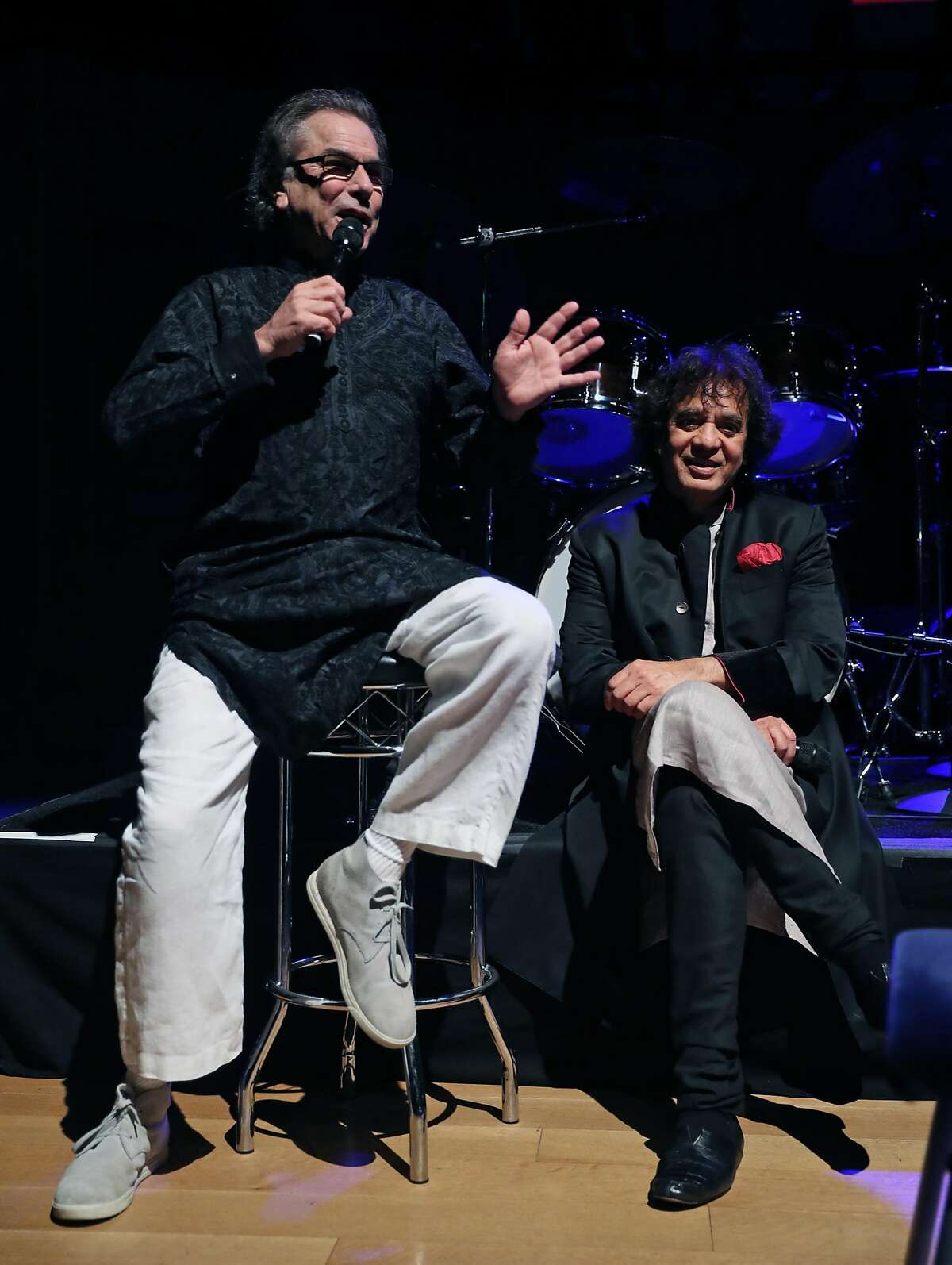 Mickey Hart talks about percussionist Zakir Hussain before awarding him the SFJAZZ Lifetime Achievement Award during SFJazz Gala in San Francisco, Calif., on Wednesday, January 18, 2017.