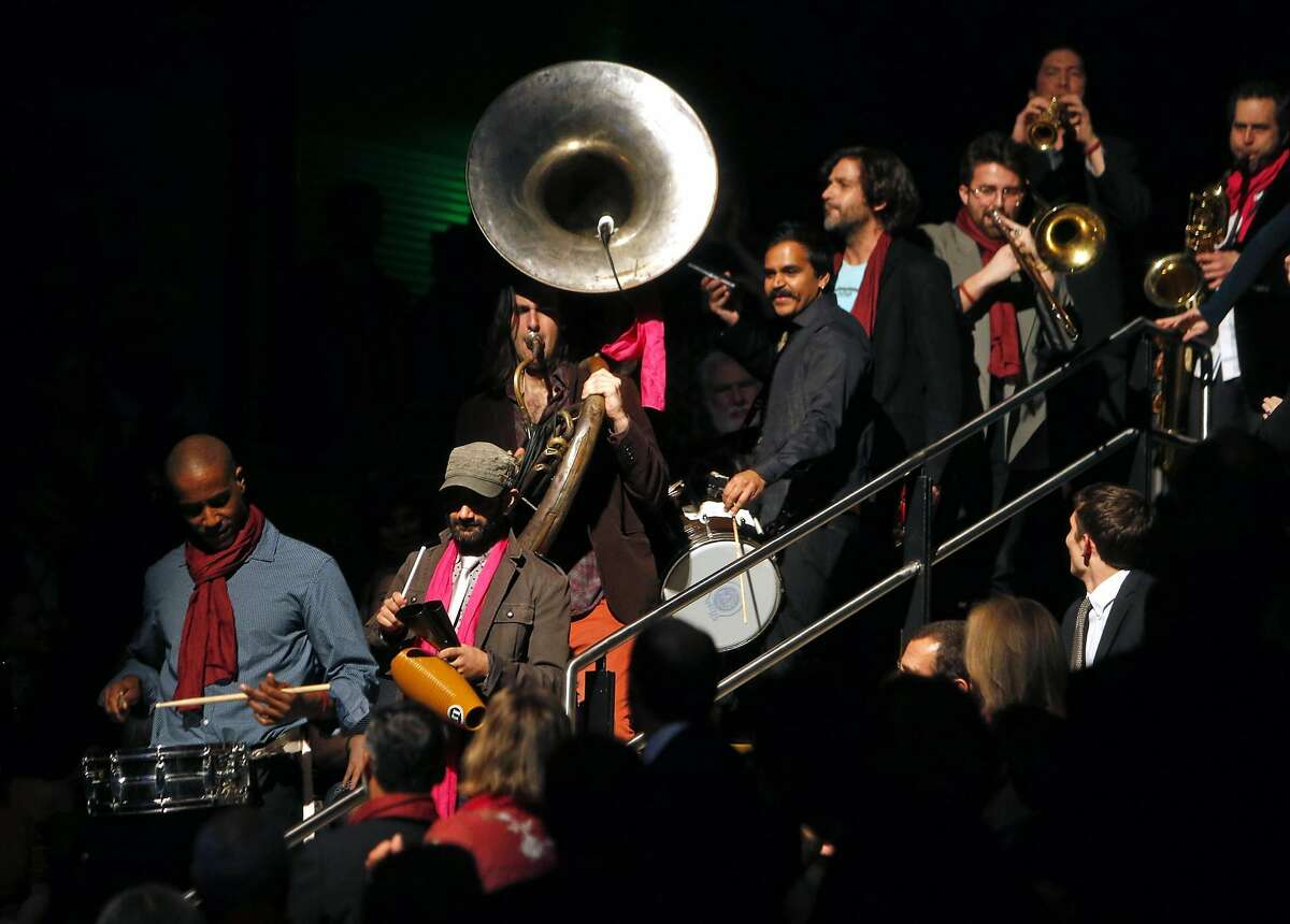 Red Baraat plays during SFJazz Gala honoring percussionist Zakir Hussain in San Francisco, Calif., on Wednesday, January 18, 2017.