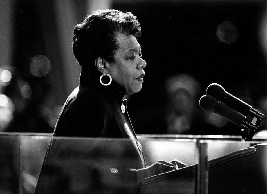 Maya Angelou reads a poem during the inauguration of Bill Clinton on Jan. 20, 1993. Photo: Larry Morris, The Washington Post / The Washington Post