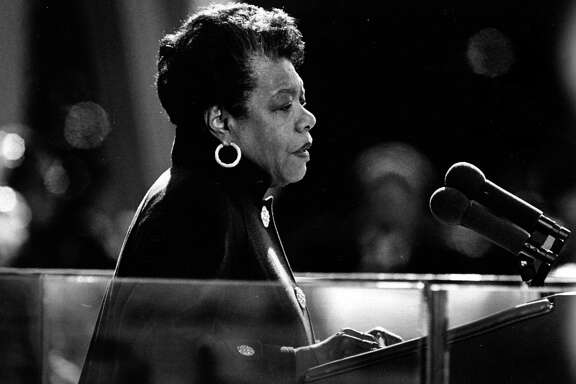 Maya Angelou reads a poem during the inauguration of Bill Clinton on Jan. 20, 1993. MUST CREDIT: Washington Post photo by Larry Morris