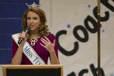 2016 Miss Texas Caroline Carothers, speaks Thursday 01-19-17 to Trinity School students. Tim Fischer/Reporter-Telegram