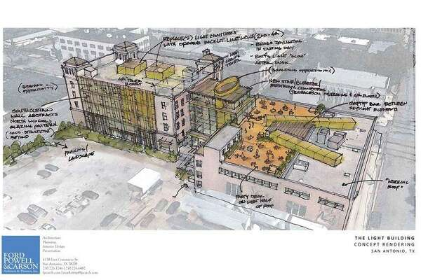 """Plans for the Light building on Broadway include a four-story glass curtain wall, a glass structure tying the main building to the old printing annex and a rooftop party deck. Says architect Adam Reed: """"The word light has a lot to do with the redesign, both bringing light in and emitting light."""