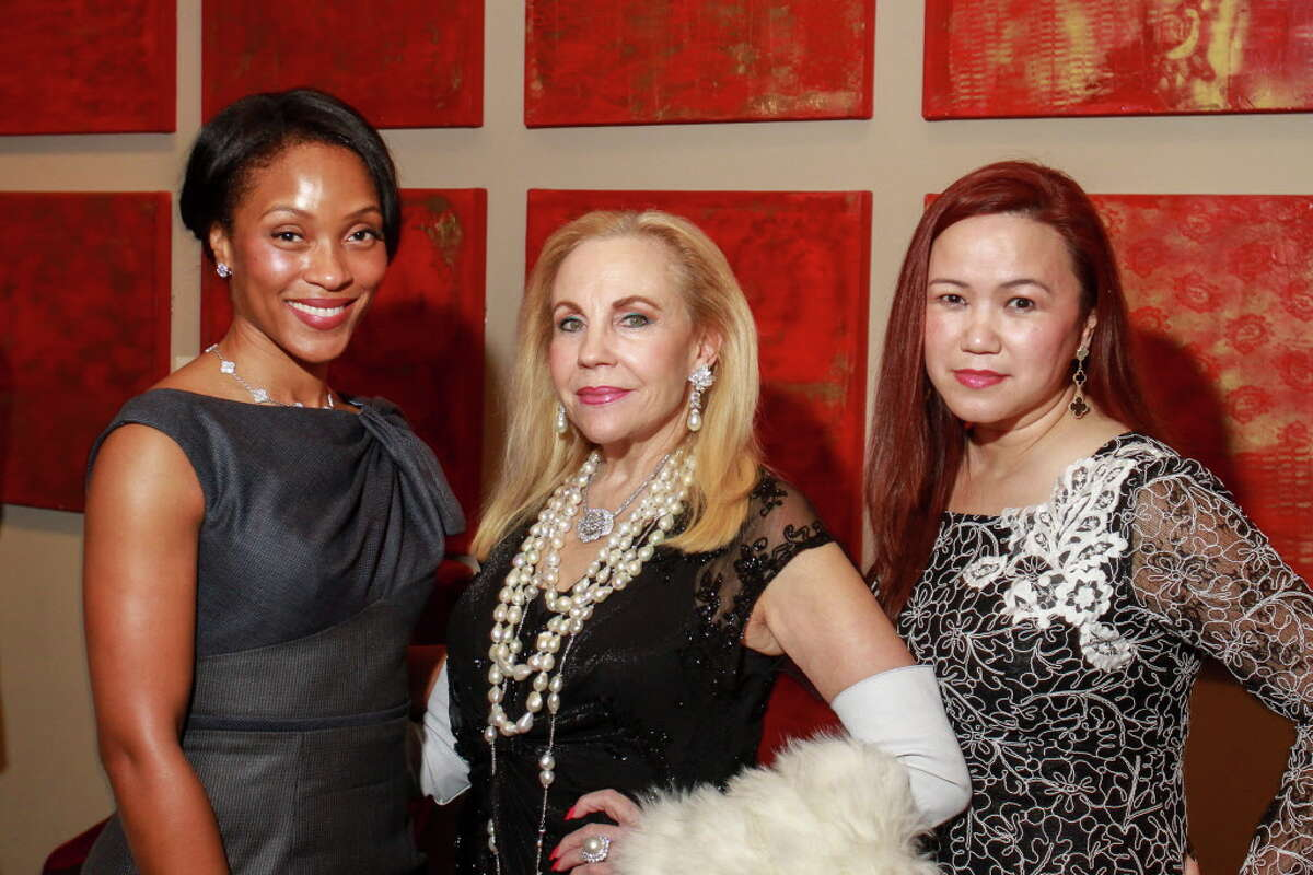 Shamika Johnson, from left, Carolyn Farb and Tammy T. Nguyen at the KnowAutism underwriters dinner hosted by Van Cleef & Arpels at the Hotel ZaZa. (For the Chronicle/Gary Fountain, January 18, 2017)