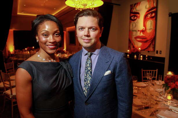 Shamika Johnson and David Peck at the KnowAutism underwriters dinner hosted by Van Cleef & Arpels at the Hotel ZaZa.  (For the Chronicle/Gary Fountain, January 18, 2017)