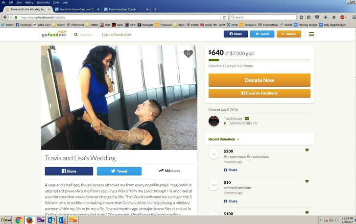 This is a screengrab of the GoFundMe website page Travis and Lisa Luce (née Bautista) set up to crowdfund their August 2016 wedding. The couple only raised a small portion of their target goal of $7,000 but said many people volunteered in-kind donations to help cover the needs of their 200-guest wedding.