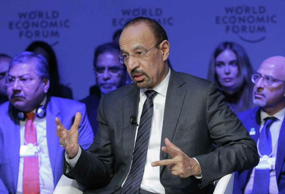 "Saudi's Oil Minister Khalid al-Falih speaks Thursday, the third day of the annual meeting of the World Economic Forum in Davos, Switzerland. He said would not exclude"" another cut to follow last year's agreement if higher prices don't stick, but added that his baseline expectation is that it ""will not be necessary."" Photo: Michel Euler /Associated Press / Copyright 2017 The Associated Press. All rights reserved."