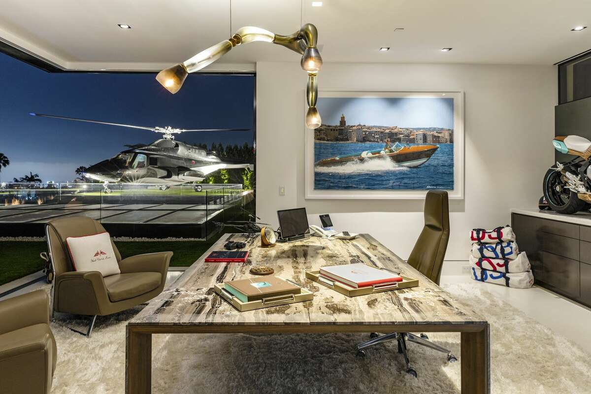 The $250 million Bel Air spec home boasts its own helicopter pad.