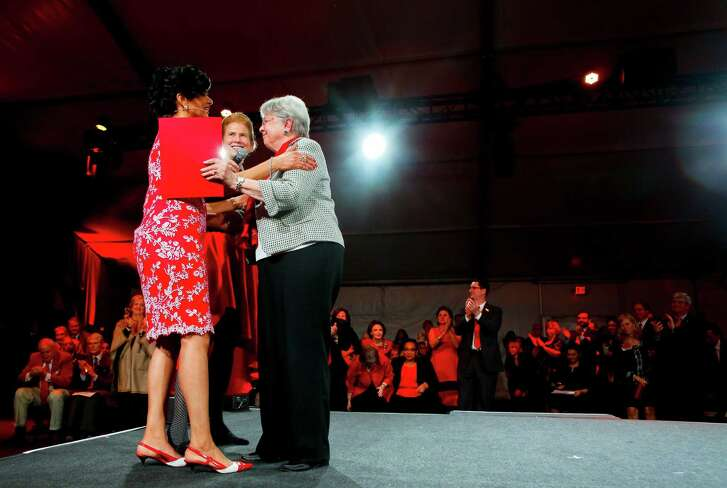 President Renu Khator and Eloise Brice give thanks to Katherine McGovern after the announcement of her generous contribution to the University of Houston's campaign during the launch program on campus on Wednesday, Jan. 18, 2017. (Annie Mulligan / Freelance)