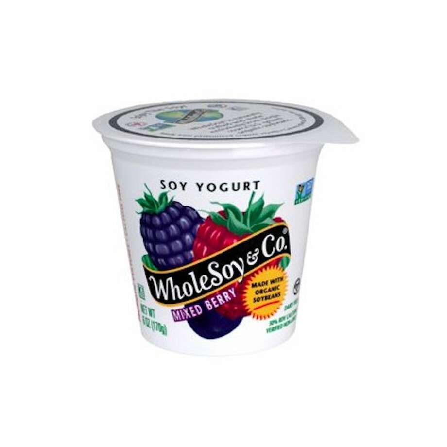 Popular yogurts that have more sugar than candy15) WholeSoy & Co. Mixed Berry Soy YogurtTotal Sugar (g): 22Calories: 180Carbohydrates (g): 34Protein (g): 6Fat (g): 3.5Serving Size (g): 170 Photo: WholeSoy & Co / Facebook