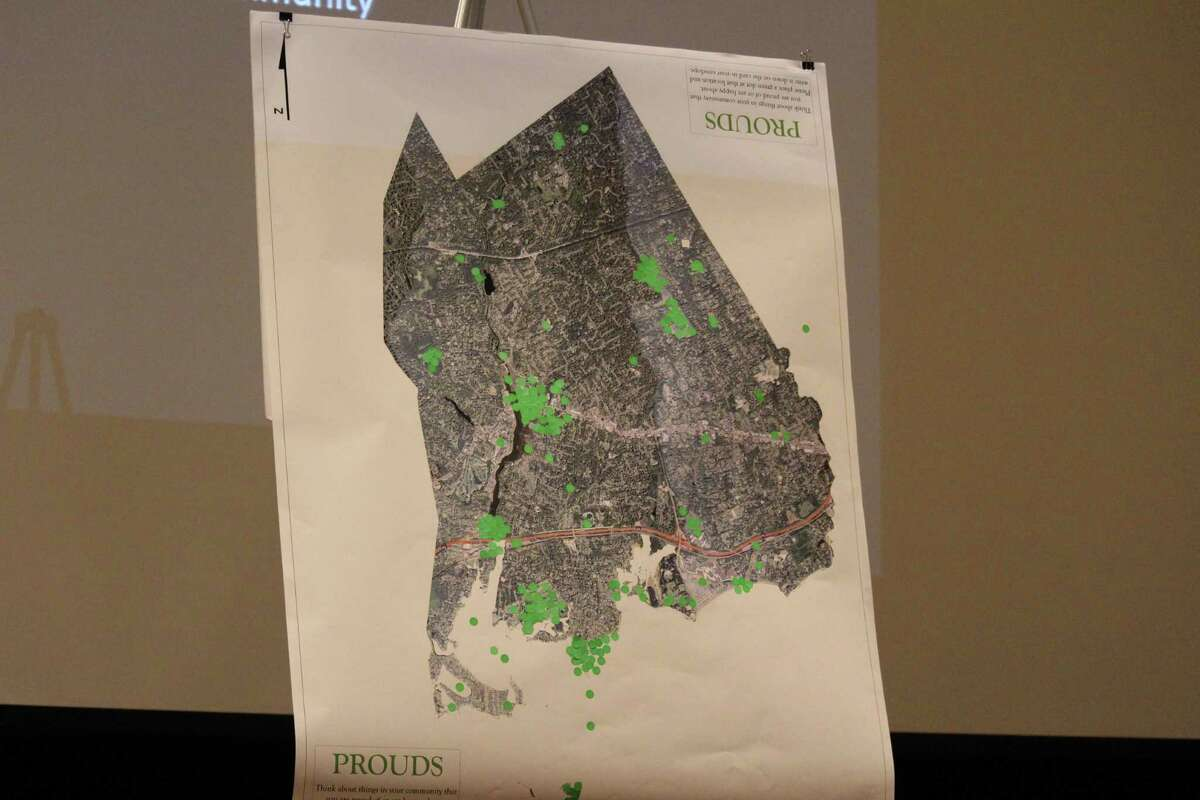 A map of points in the town residents are proud of as part of the survey to help craft the 2017 town Plan of Conservation and Development.