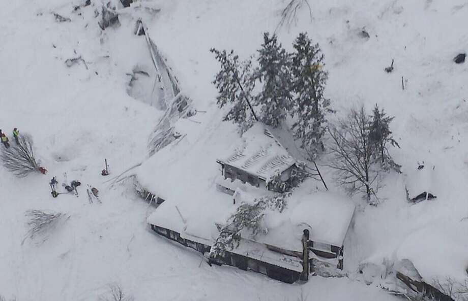An aerial view shows the Hotel Rigopiano after an avalanche buried the mountainside hotel in Farindola. Rescue workers reported no signs of life. Photo: ITALIAN FIRE DEPARTMENT, NYT