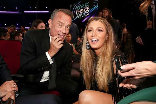 LOS ANGELES, CA - JANUARY 18:  Actors Tom Hanks (L) and Blake Lively in the audience during the People's Choice Awards 2017 at Microsoft Theater on January 18, 2017 in Los Angeles, California.  (Photo by Christopher Polk/Getty Images for People's Choice Awards)