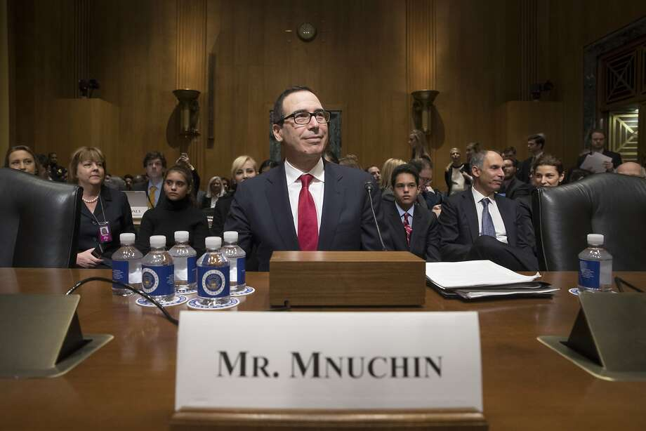 Former Goldman Sachs banker Steven Mnuchin struggled to answer questions about his use of tax havens as a hedge fund manager and whether he thought such loopholes should be closed. Photo: J. Scott Applewhite, Associated Press