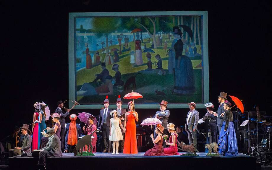 "Jake Gyllenhaal, Zachary Levi and Phylicia Rashad joined Carmen Cusack (center, with umbrella) for a 2016 concert performance of ""Sunday in the Park with George"" at New York City Center. Photo: Stephanie Berger, ?Stephanie Berger Photography."