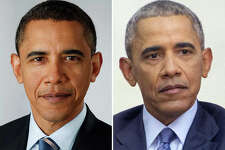 Barack Obama pictured at the beginning of his presidency and toward the end of his second term.