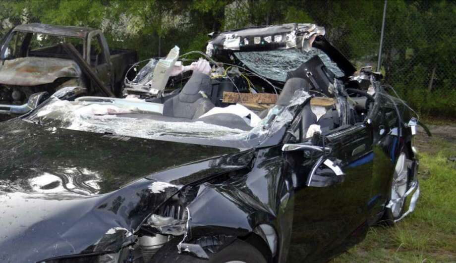 This Tesla Model S was being driven by Joshua Brown, who was killed when the Tesla sedan crashed while in self-driving mode on May 7, 2016. The National Transportation Safety Board is meeting Tuesday to issue its final findings on the crash. Photo: National Transportation Safety Board / NTSB via Florida Highway Patrol