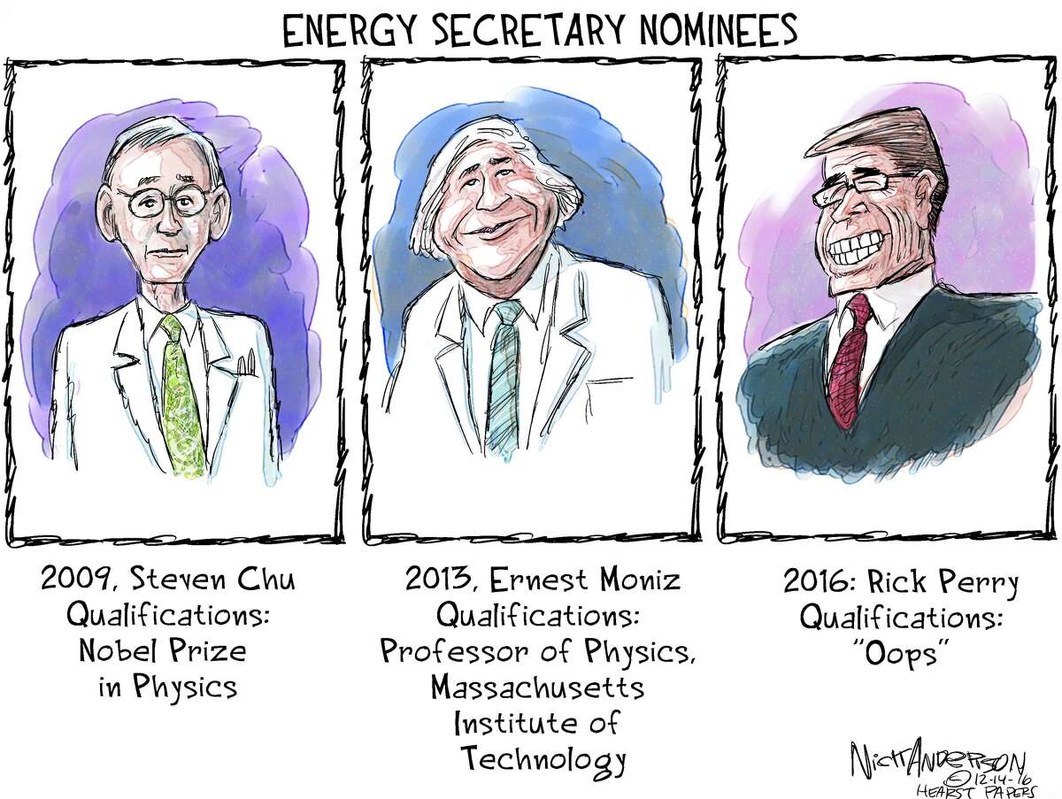 EDITORIAL CARTOONS: The political life of Texas Gov. Rick Perry Former Texas Gov. Rick Perry appeared in front of a U.S. Senate panel on Thursday, Jan. 19, 2017 to discuss his qualifications as President Donald Trump's pick for Energy Secretary. The appearance was a bit of an awkward situation for Perry, who once said the entire Department of Energy should be shut down. See how Perry has been portrayed in the past in this series of political cartoons ...