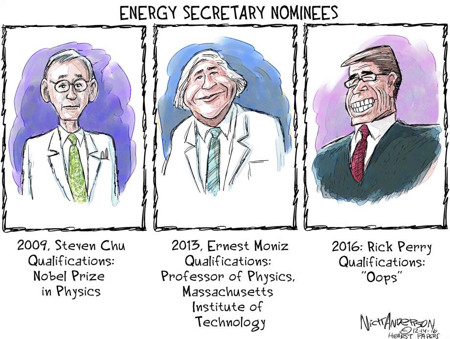 EDITORIAL CARTOONS: The political life of Texas Gov. Rick PerryFormer Texas Gov. Rick Perry appeared in front of a U.S. Senate panel on Thursday, Jan. 19, 2017 to discuss his qualifications as President Donald Trump's pick for Energy Secretary. The appearance was a bit of an awkward situation for Perry, who once said the entire Department of Energy should be shut down.See how Perry has been portrayed in the past in this series of political cartoons ... Photo: Nick Anderson, Houston Chronicle