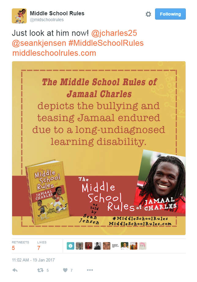 """The Middle School Rules of Jamaal Charles"" is one of four books written by author Sean Jensen and features lesson's the Port Arthur Memorial graduate learned by growing up with a learning disability. Three other books in the series feature tales from WNBA star Skylar Diggins, and retired NFL stars Charles Tillman and Brian Urlacher. (Twitter.com/midschoolrules) Photo: Photo Provided By Middle School"