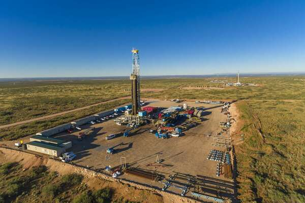 WPX Energy, Delaware basin. Three drilling rigs on multi-well pads. L to R: Orion Drilling, Phoenix on the CBR 22-17H, Pegasus on the CBR 22-10H,  Aries on the CBR 22-14H. 