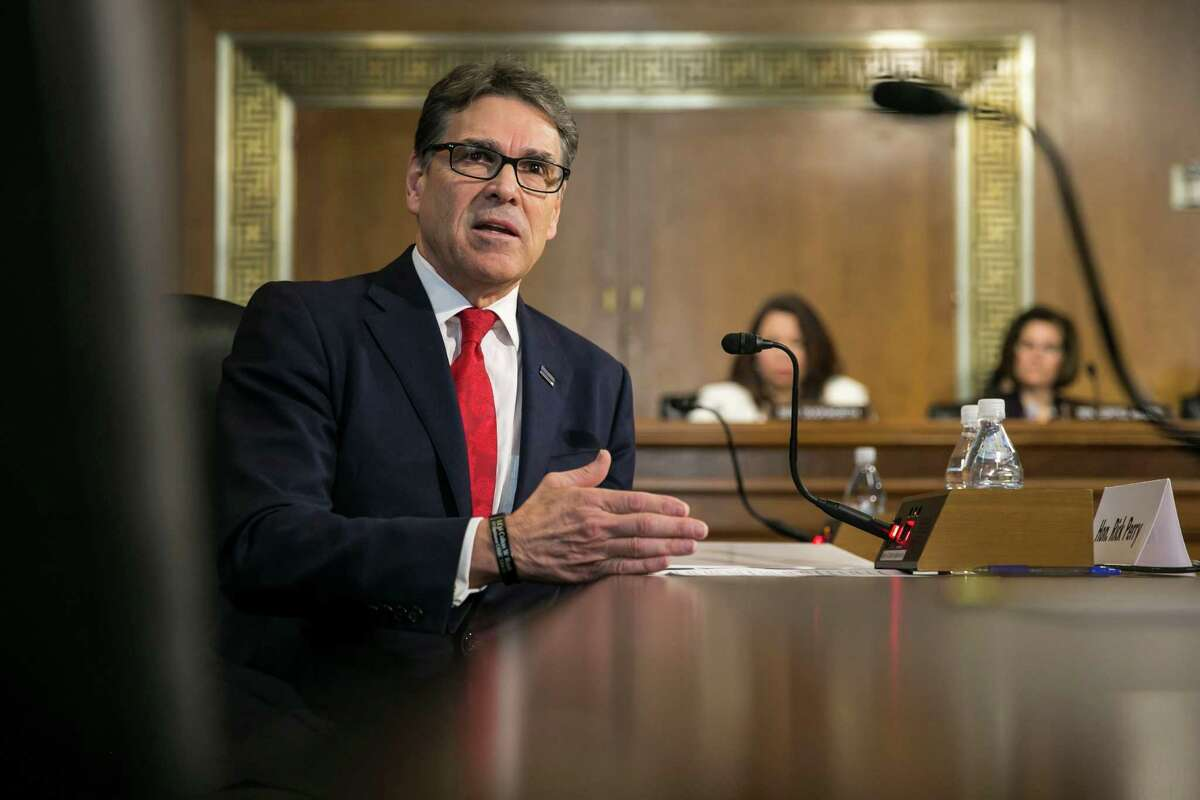 Former Texas Gov. Rick Perry, President-elect Donald Trump's pick for secretary of energy, speaks during his confirmation hearing before the Senate Energy and Natural Resources Committee on Capitol Hill, in Washington, Jan. 19, 2017. (Al Drago/The New York Times)
