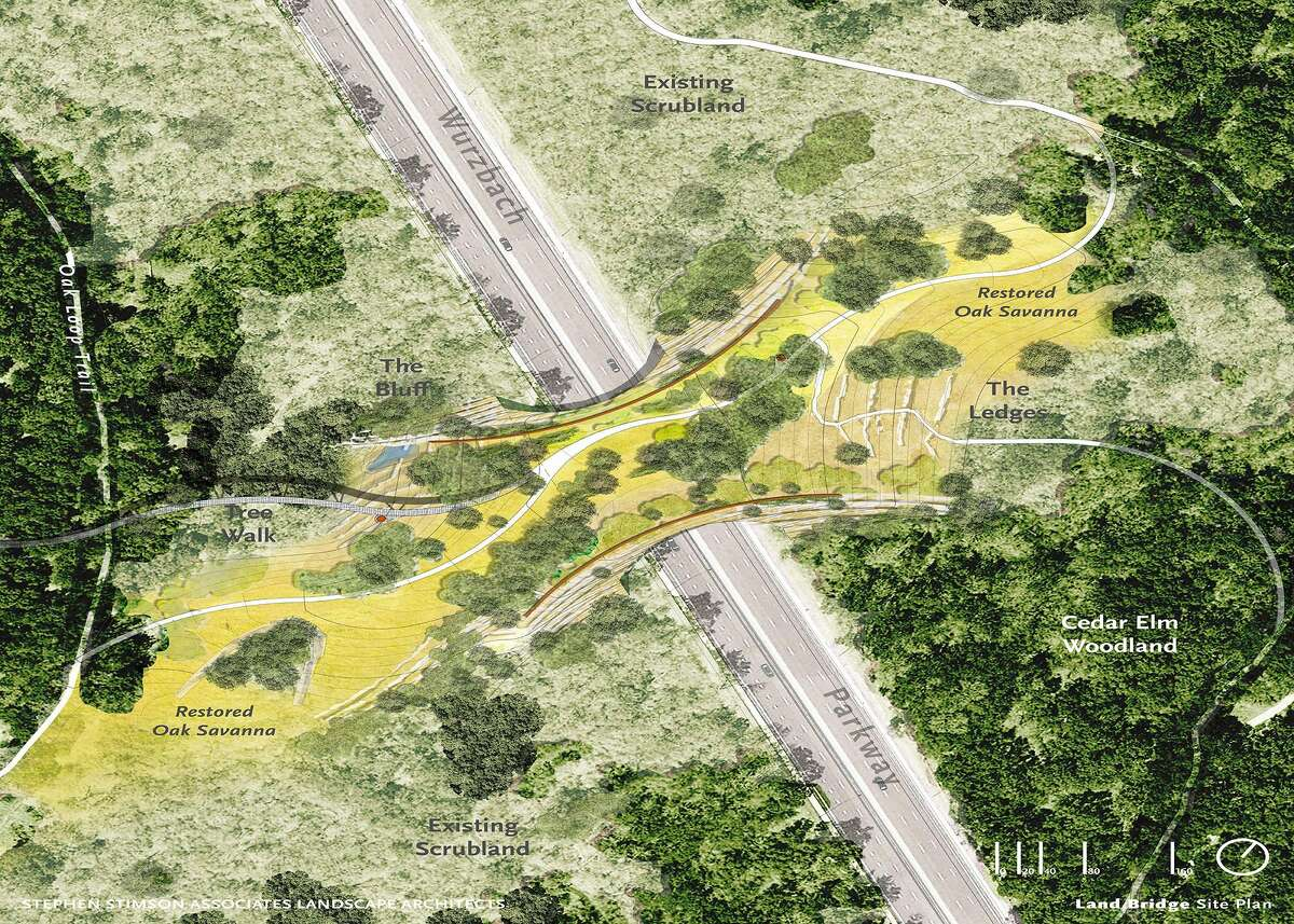 The proposed Hardberger Park land bridge, shown here in an undated rendering by Stephen Stimson Associates Landscape Architects, would join the two halves of the 311-acre park. Partial funding for the land bridge is included in the city's proposed $850 million bond.