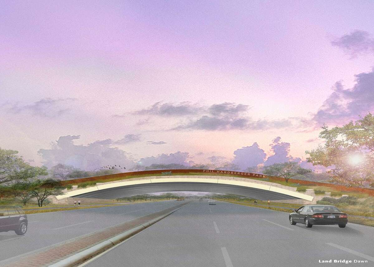 An undated rendering by Stephen Stimson Associates Landscape Architects shows a possible design for a land bridge connecting both sides of Hardberger Park. City Council voted Jan. 19, 2017 to include $13 million for the land bridge in the 2017 bond. The bond goes to voters May 6, 2017.