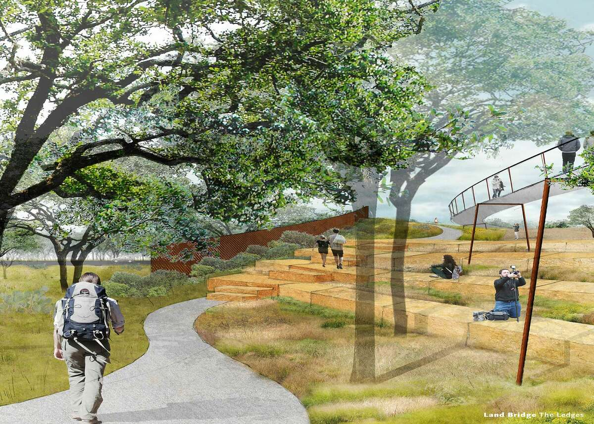 An undated rendering by Stephen Stimson Associates Landscape Architects shows what the Phil Hardberger Park Conservancy envisions as a bridge across Wurzbach Parkway to connect both sides of Hardberger Park.