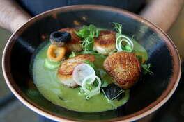 El chef mexicano Hugo Ortega y Tracy Vaught, del H Town Restaurant Group, abren Xochi, un restaurante en el Marriott Marquis de Houston. El menú se centra en la comida y bebida de Oaxaca, como este plato de callo de hacha. (H. Chronicle)