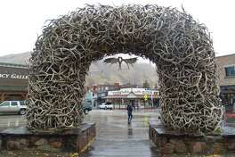 Check out the artful elk antler arches in Town Square in downtown Jackson.