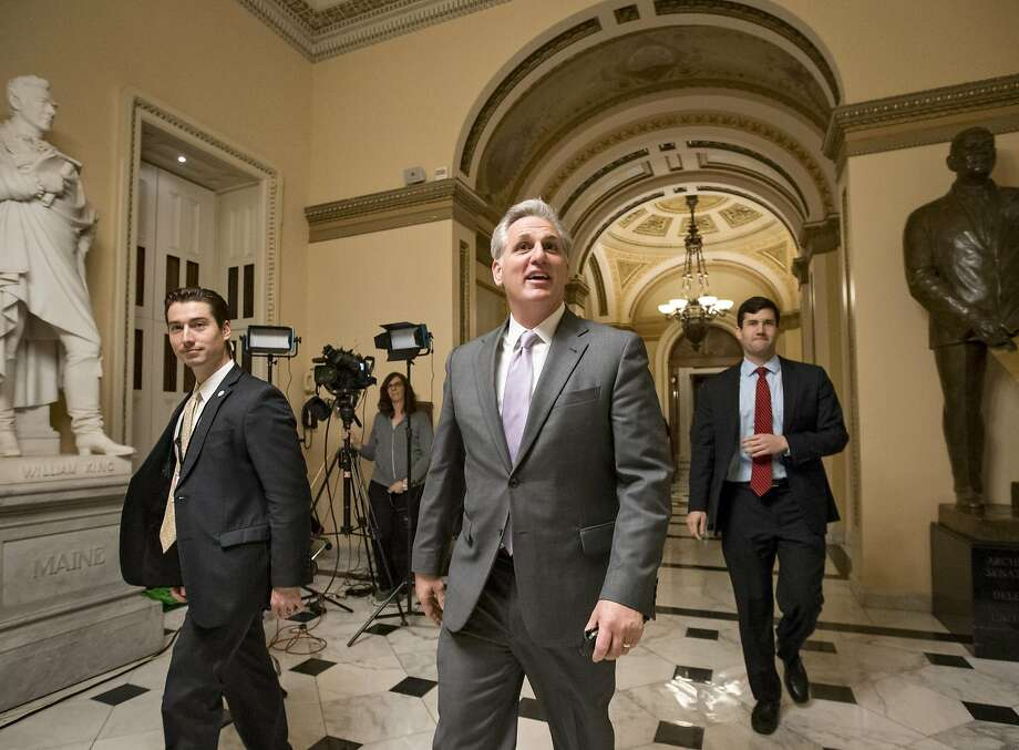 House Majority Leader Kevin McCarthy, R-Calif., smiles as he departs the chamber just after the GOP-controlled House of Representatives voted to eliminate key parts of President Barack Obama's health care law and to stop taxpayer funds from going to Planned Parenthood, at the Capitol in Washington, Wednesday, Jan. 6, 2016. It is the 62nd vote House Republicans have cast to repeal or diminish the Affordable Care Act, but this is the first time their bill will end up on the president's desk. President Obama has said he will veto the legislation.    (AP Photo/J. Scott Applewhite) Photo: J. Scott Applewhite, Associated Press