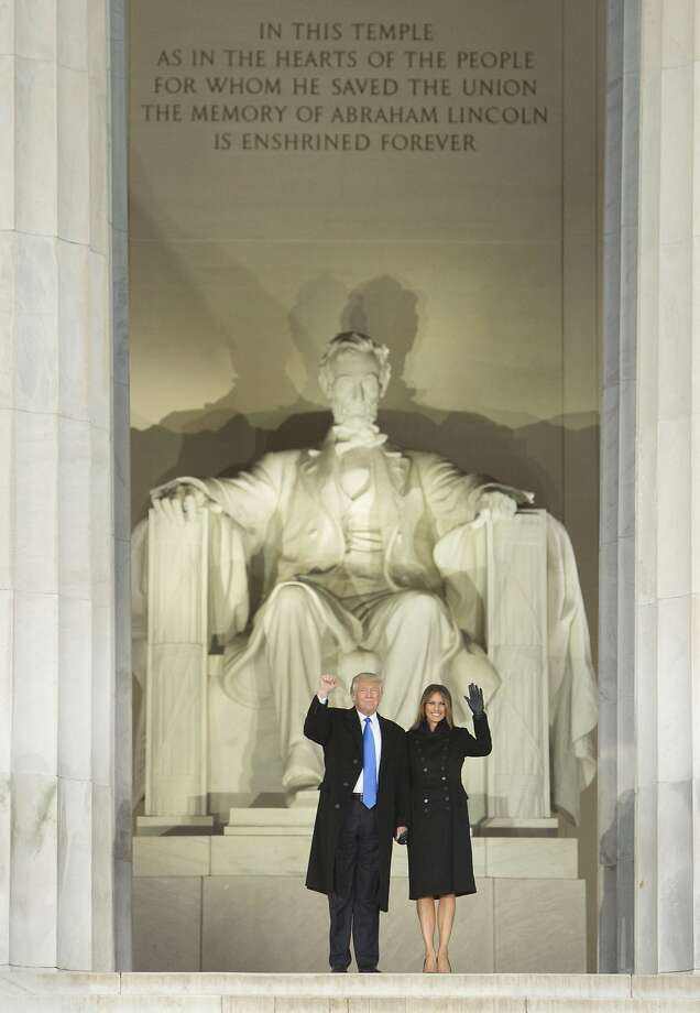 "President-elect Donald Trump and his wife, Melania Trump, arrive at the ""Make America Great Again Welcome Celebration concert at the Lincoln Memorial in Jan. 19, 2017 in Washington, D.C. Photo: Pool, Getty Images"