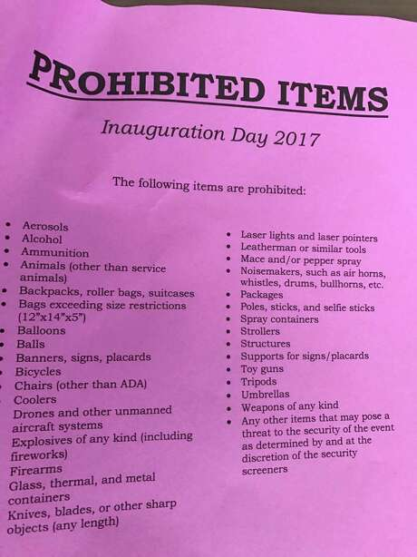 This list was provided by a member of the Jefferson County Republican Party. The group is in Washington D.C. to witness Donald Trump's presidential inauguration on Friday. Photo: Courtesy Of Mike Fuljenz