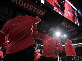 Houston Rockets guard James Harden (13) is introduced before a game against the Philadelphia 76ers at the Toyota Center on Monday, Nov. 14, 2016, in Houston. ( Elizabeth Conley / Houston Chronicle )