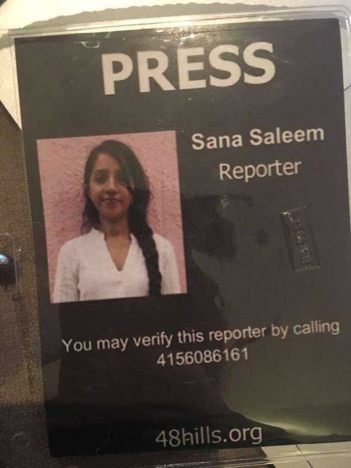 Sana Saleem's press pass issued by her publication, 48 Hills. Photo: Submitted By Sana Saleem / /