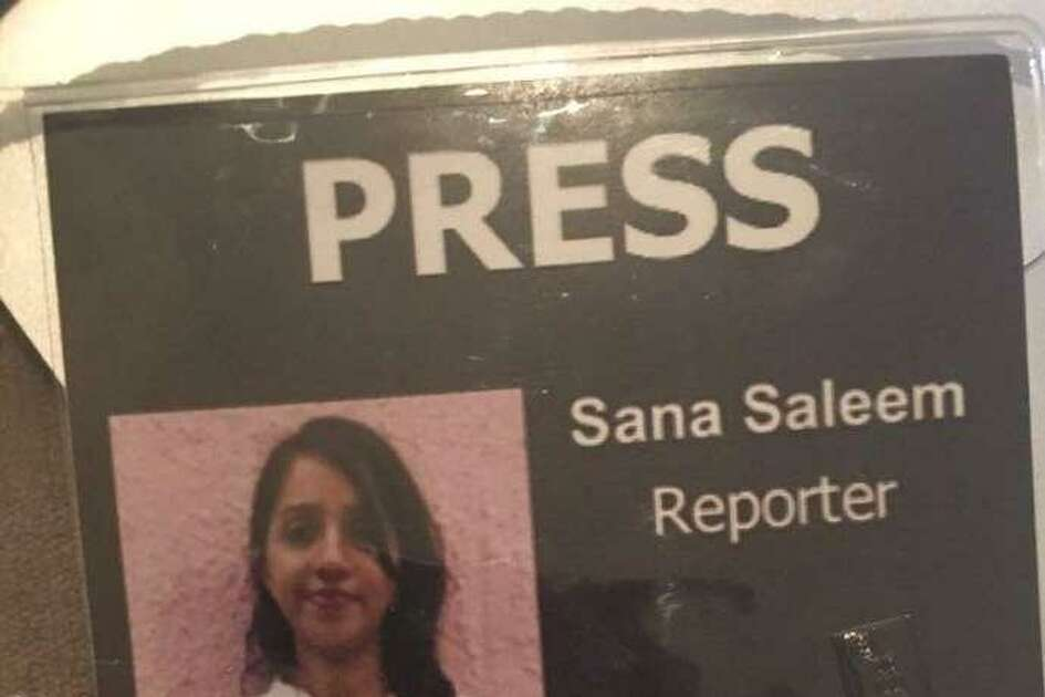 Sana Saleem's press pass issued by her publication, 48 Hills.