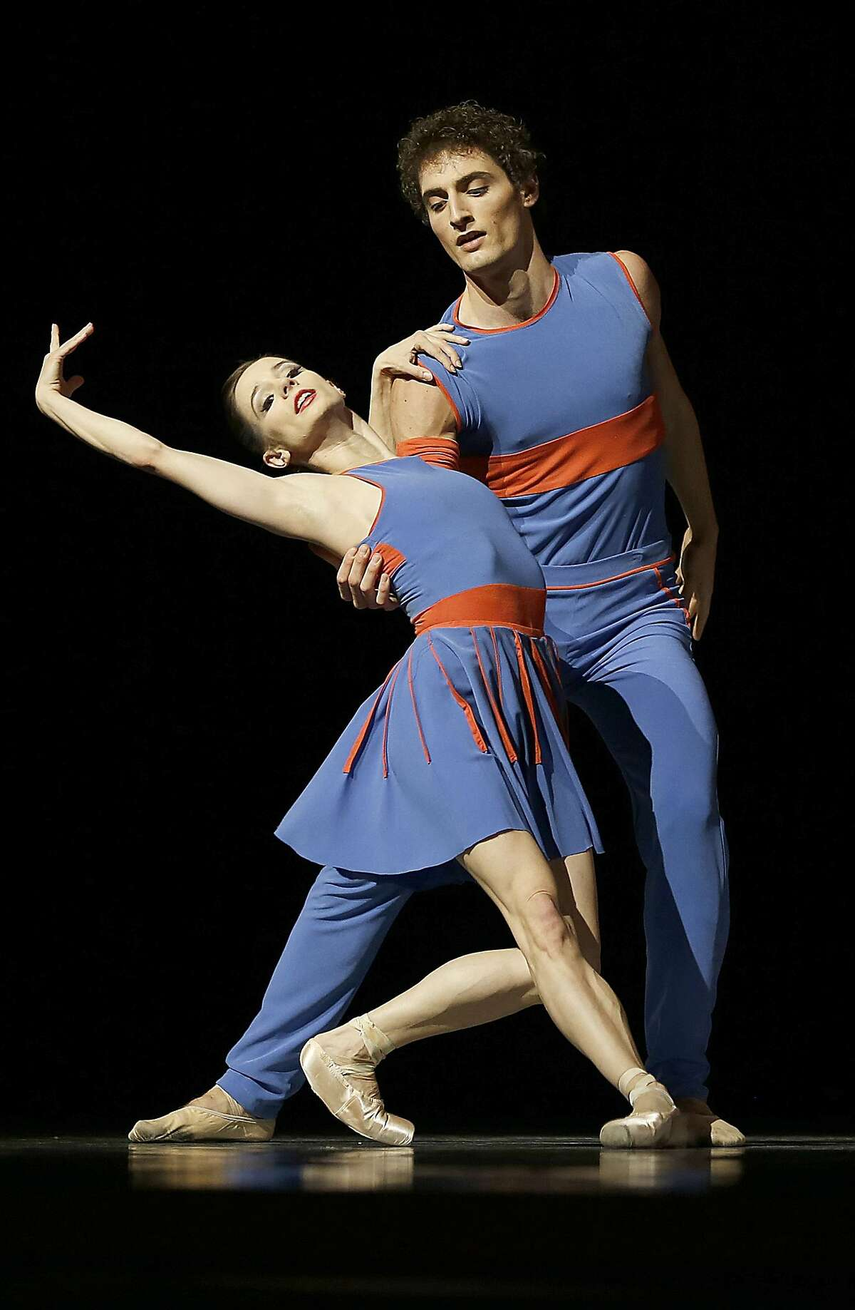 Maria Kochetkova and Carlo Di Lanno dance during a dress rehearsal of San Francisco Ballet's season opening gala with world premiere 'The Chairman Dances' choreographed by Benjamin Millepied on Thursday, January 19, 2017, in San Francisco, Calif.
