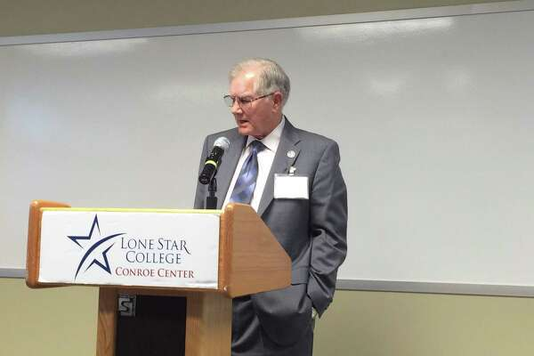 Mayor Toby Powell addresses the audience at the Lone Star College - Conroe Center workforce training facility expansion on Thursday, Jan. 19, at 2:30 p.m.