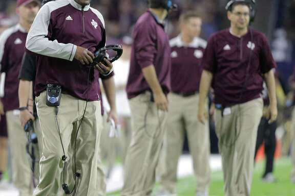 Texas A&M coach Kevin Sumlin reacts to a call during the second quarter of the Texas Bowl against Kansas State at NRG Stadium on Dec. 28, 2016, in Houston.