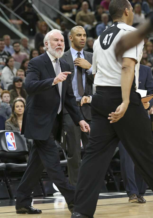 Gregg Popovich goes after referee Bennie Adams and gets ejected from the game as the Spurs host Denver at the AT&T Center on January, 19, 2017. Photo: Tom Reel/San Antonio Express-News