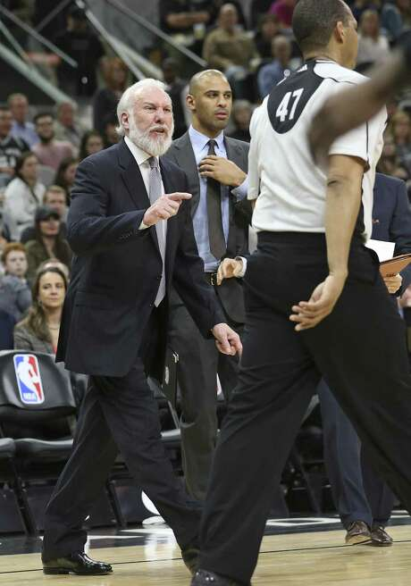 Gregg Popovich goes after referee Bennie Adams and gets ejected from the game as the Spurs host Denver at the AT&T Center on January, 19, 2017. Photo: Tom Reel, Staff / San Antonio Express-News / 2017 SAN ANTONIO EXPRESS-NEWS