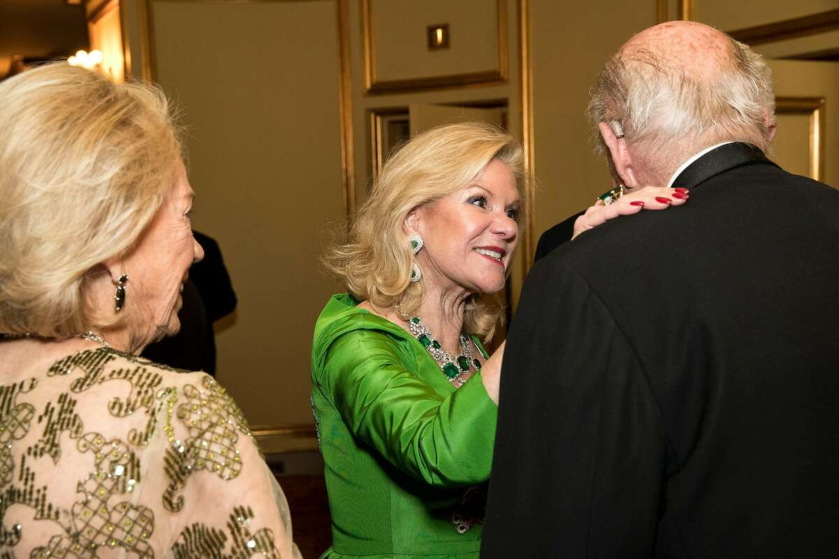 Dede Wilsey (center) talks with George Shultz (right) during intermission at the San Francisco Ballet 2017 Opening Night Gala at War Memorial Opera House in San Francisco, Calif., on Thursday, January 19, 2017. The theme of the evening was Ever Magical.