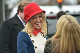 Kellyanne Conway, appointed as Counselor to the President by US President-elect Donald Trump, leaves St. John's Episcopal Church on January 20, 2017, before Trump's inauguration. / AFP PHOTO / Nicholas KammNICHOLAS KAMM/AFP/Getty Images