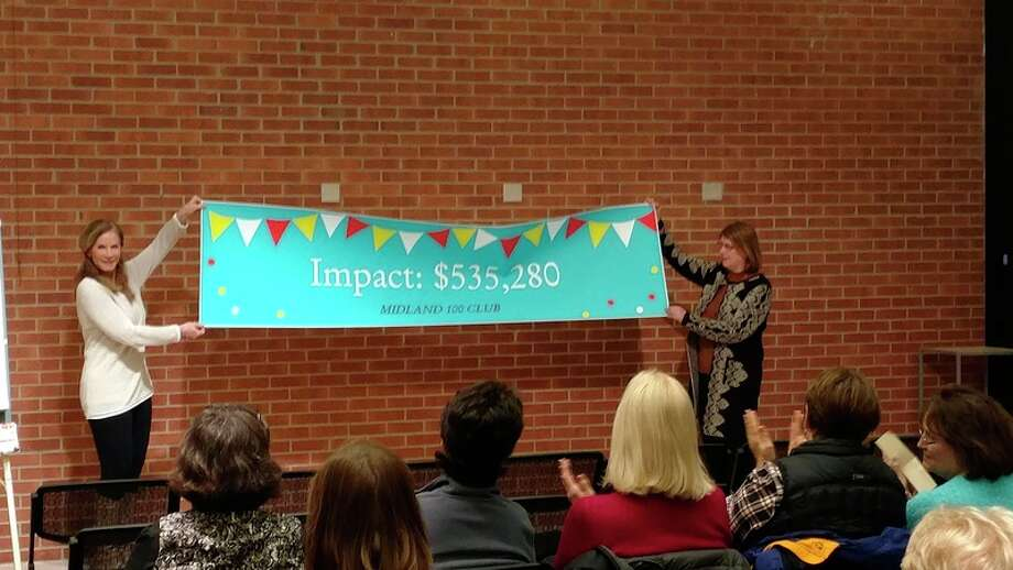 Midland 100 Club members Kathleen Davis, left, and Nancy Vallentine, right, unroll banner to announce milestone total impact at the start of the meeting.