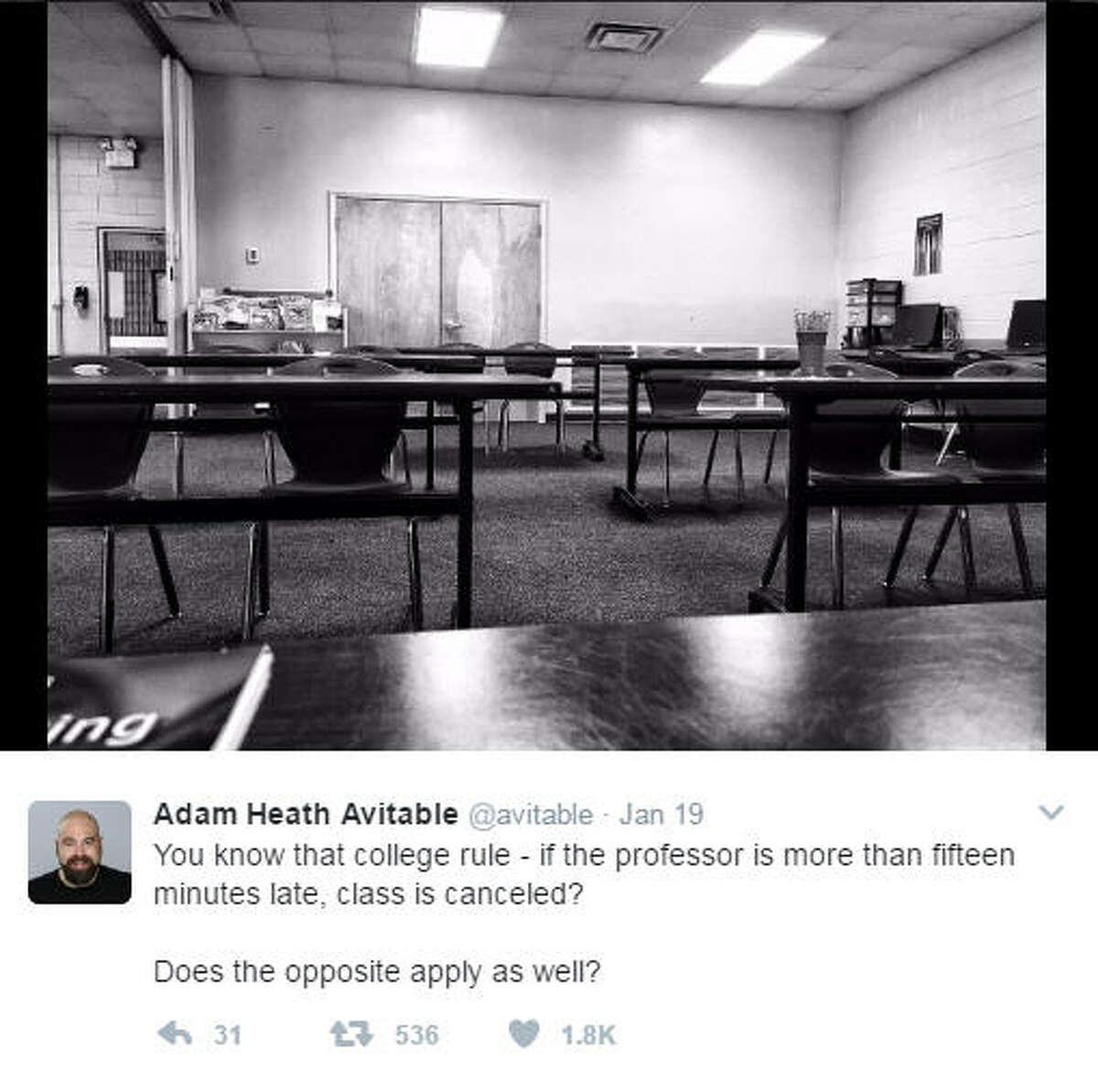 Professor, comedian Adam Heath Avitable live tweeted the painful moments where no students showed up to his class. >>KEEP CLICKING TO SEE THE HILARIOUS MOMENTS UNFOLD. Photo: Adam Heath Avitable Twitter